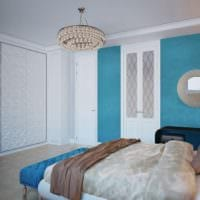 дизайн маленькой спальни бело голубой