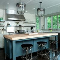 кухня без верхних шкафов интерьер