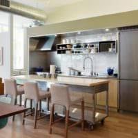 кухня студия с нишей