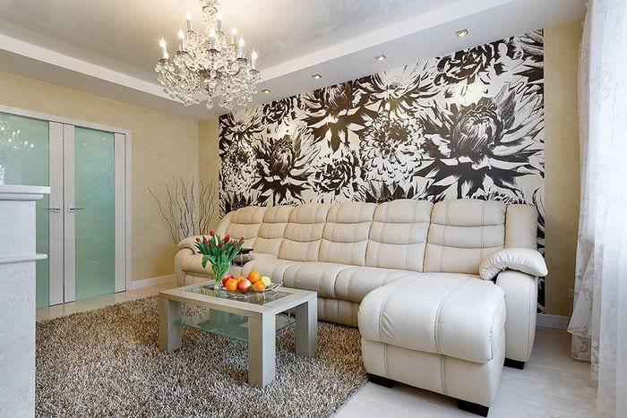 дизайн обоев в гостиной