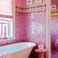 плитка для ванной розовая