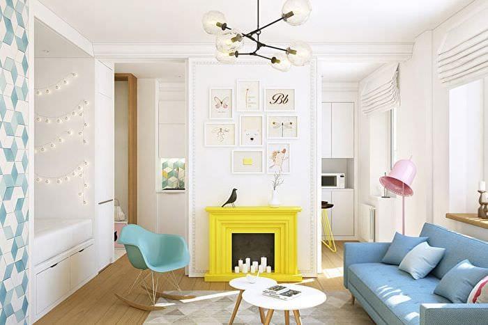 светлый дизайн однокомнатной квартиры
