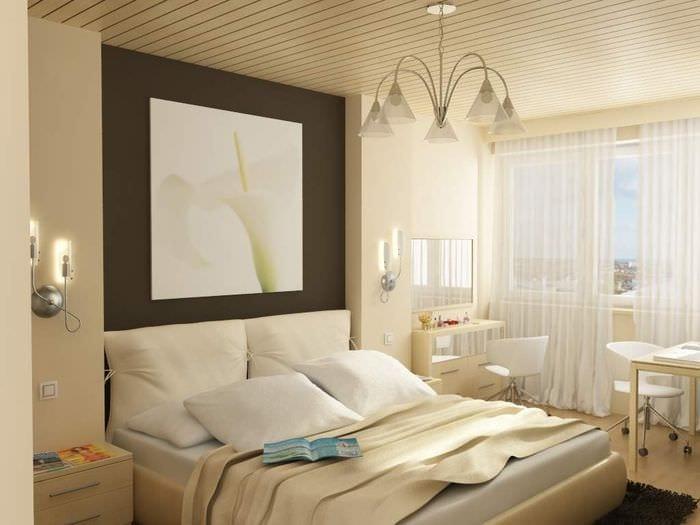 дизайн небольшой спальни с балконом