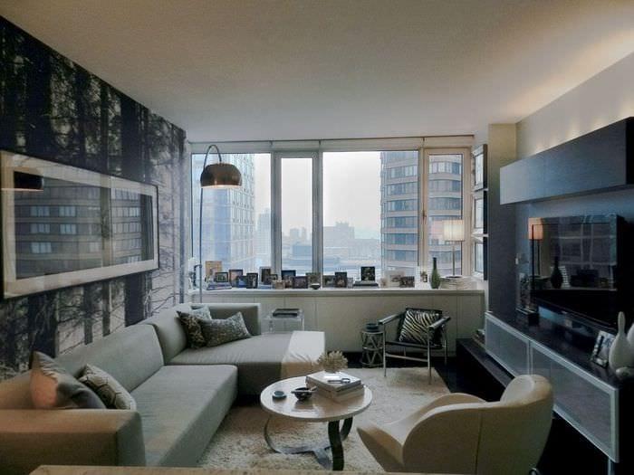 дизайн интерьера прямоугольной комнаты
