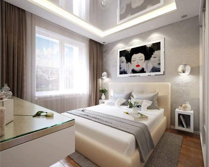 стильный дизайн спальни 10 кв м