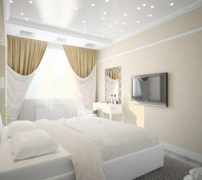 спальня 10 кв м в белых тонах