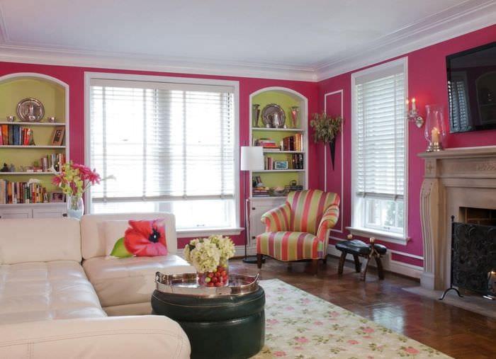 мебель в прямоугольной комнате