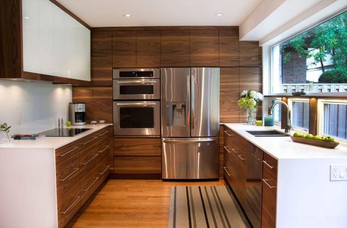 прямоугольная кухня в современном стиле