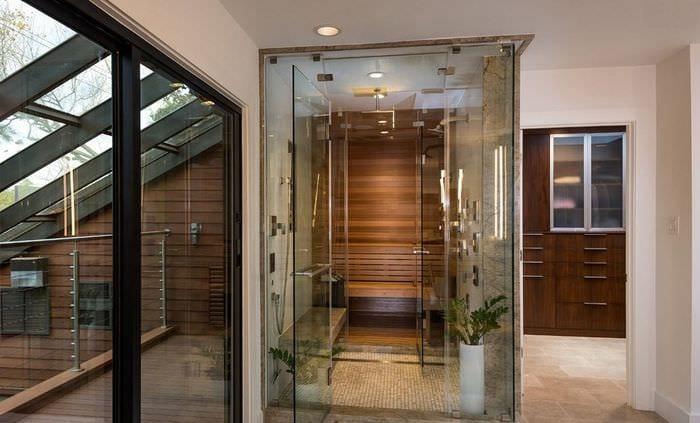 дизайн сауны со стеклянными дверями
