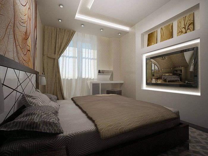 потолок из гипсокартона в спальне 11 кв м