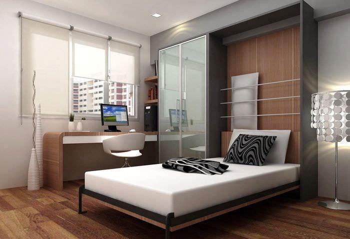 дизайн спальни 11 кв м с кроватью трансформером
