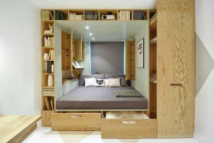 спальня 11 кв м с многофункциональной кроватью