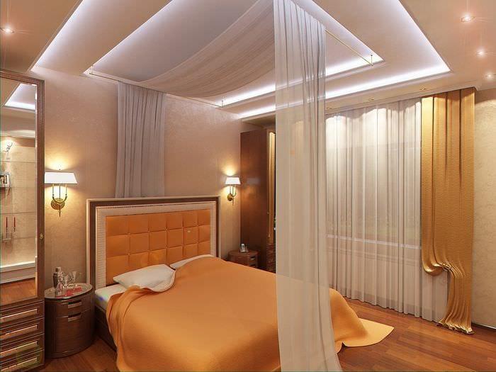 спальня 11 кв м в оранжевом цвете