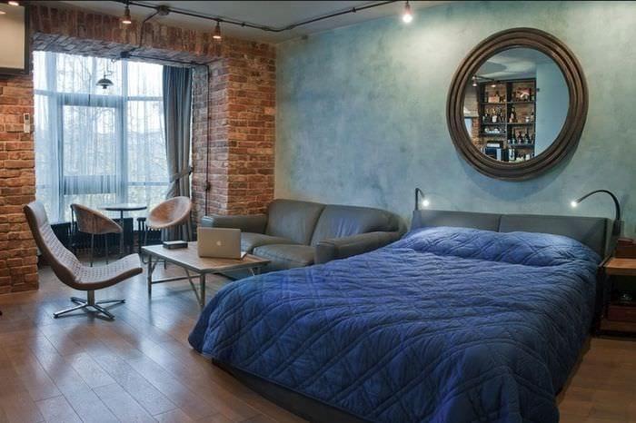 спальня 14 кв м в стиле лофт