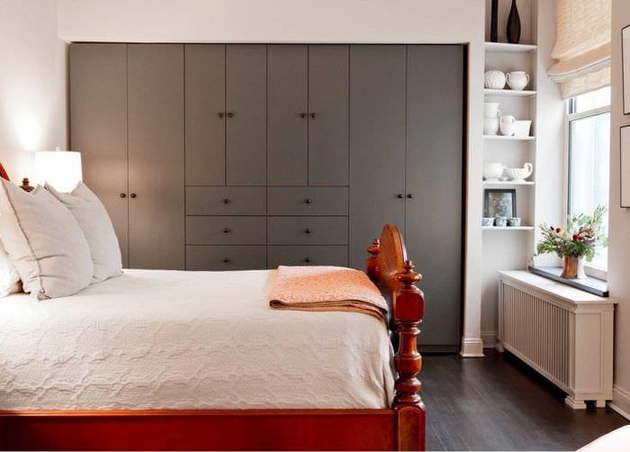 дизайн спальни 9 кв м со шкафом в нише
