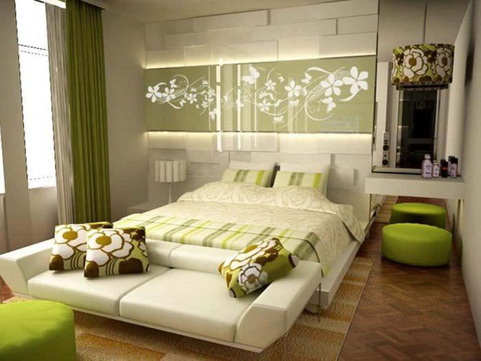 спальня 9 кв м в зеленом цвете
