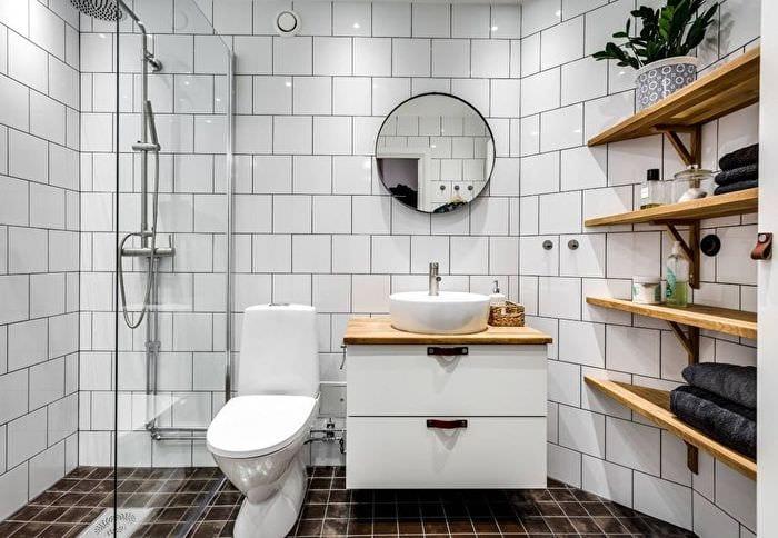 дизайн ванной 4 кв м с навесной полкой