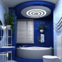 дизайн ванной 4 кв м в синих тонах