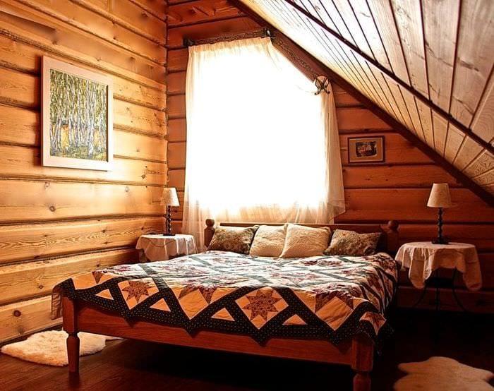 дизайн деревянного дома спальни