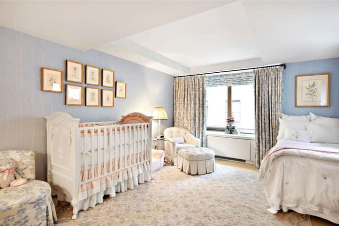 спальня для родителей и новорожденного