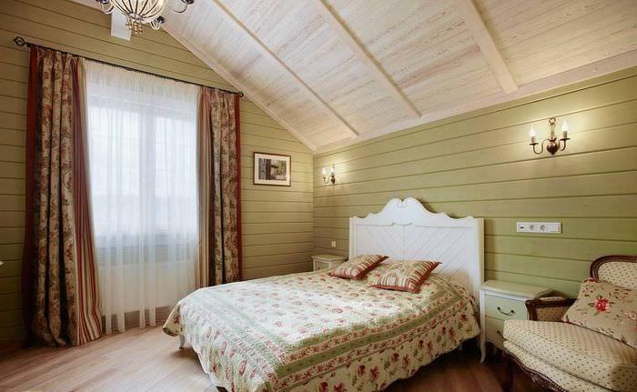 фисташковый оттенок стен в спальне в стиле прованс