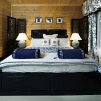 спальня в деревянном доме холодная цветовая гамма