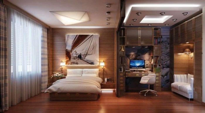 спальня кабинет с передвижной перегородкой