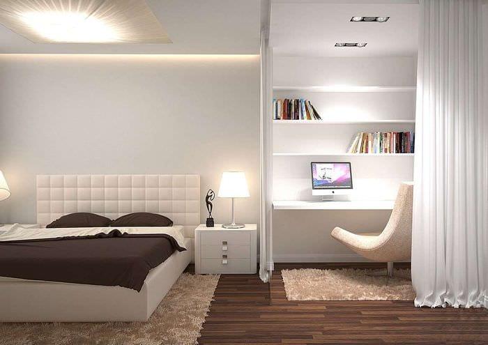 интерьер спальни кабинета в светлых тонах