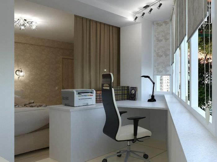 кабинет спальня с балконом