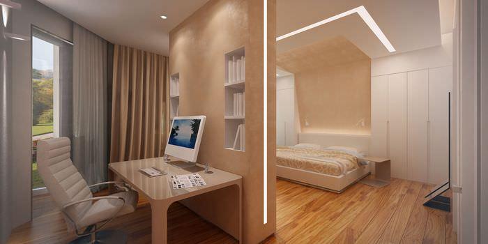 кабинет спальня с декоративной перегородкой
