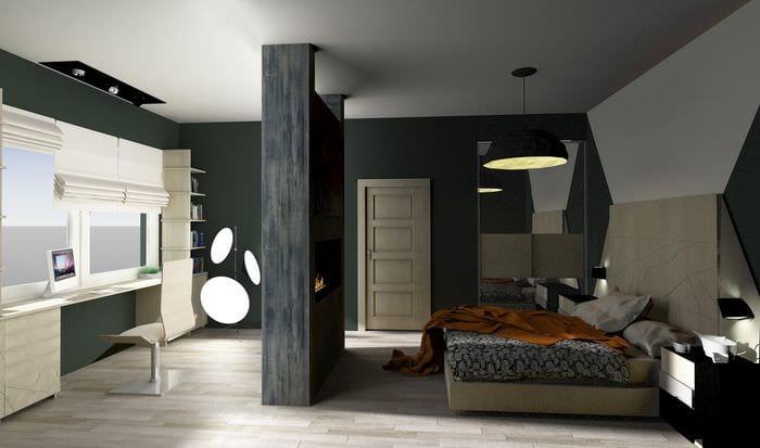 спальня кабинет с камином