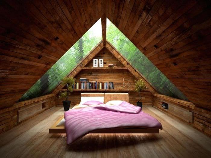 красивая спальня на мансарде