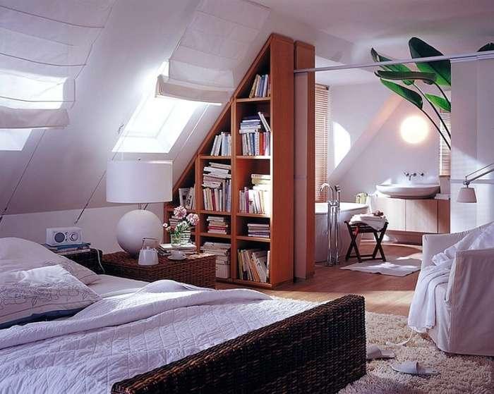 декор спальни на мансарде