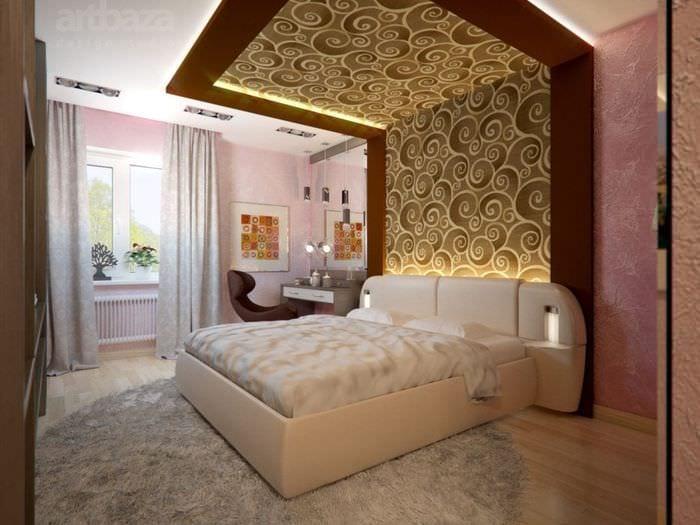 дизайн спальни 2018 с декором