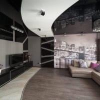 натяжные потолки в стильной гостиной