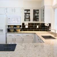 прямоугольная кухня стильный интерьер
