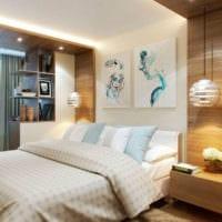 прямоугольная спальня 16 кв м современное искусство