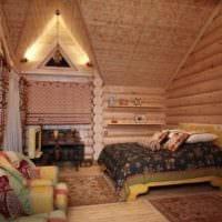 спальня в деревянном доме фото