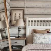 спальня в деревянном доме интерьер