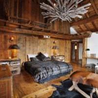 спальня в деревянном доме стиль шале