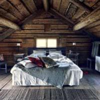 спальня в деревянном доме стильное оформление