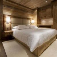 спальня в деревянном доме точечная подсветка