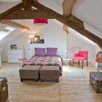 спальня на мансарде фото оформления