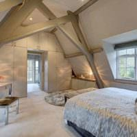 спальня на мансарде интерьер
