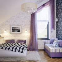 спальня на мансарде современный дизайн