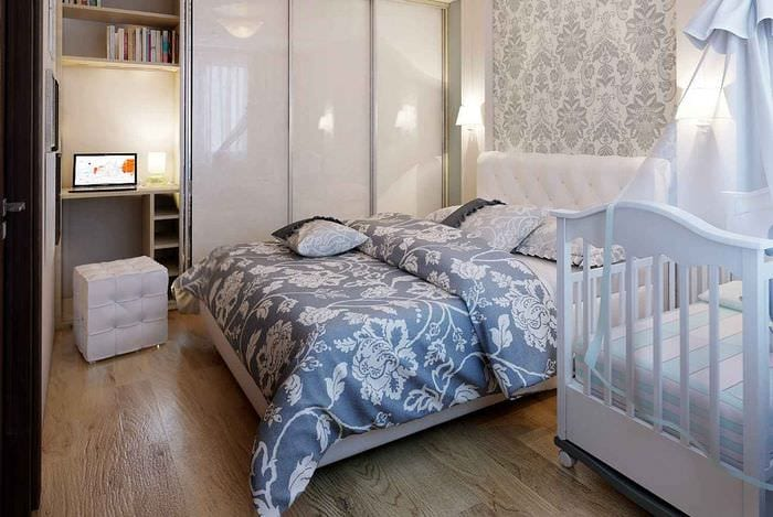 совмещение спальни с детской