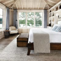 спальня в деревянном доме светлый интерьер