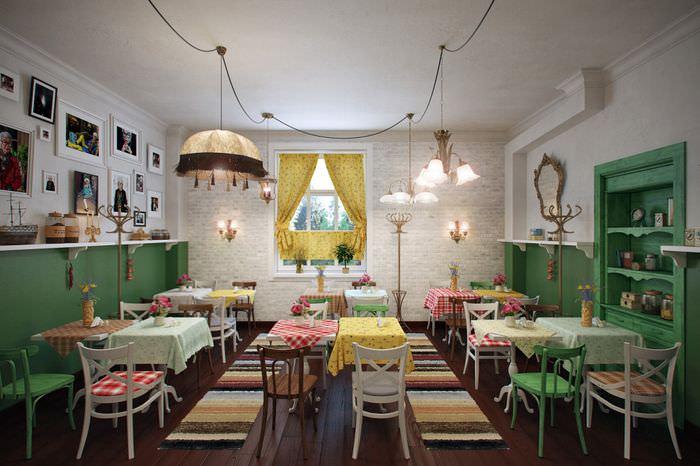 деревенский дизайн кафе