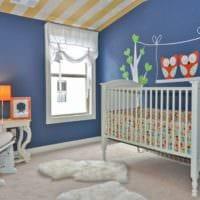 детская комната для новорожденного белая кровать