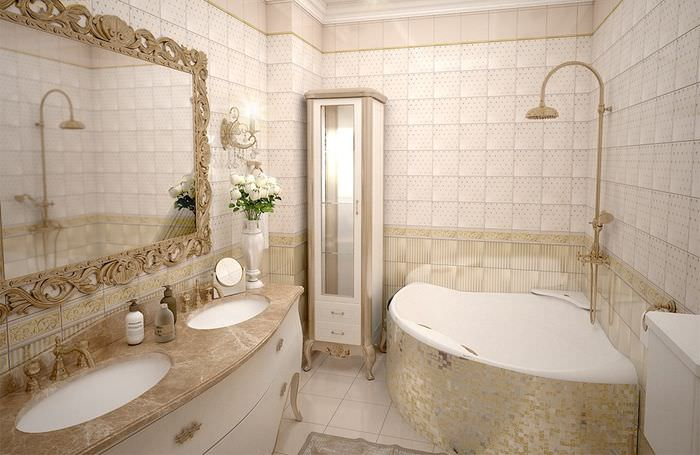 плитка в классической ванной